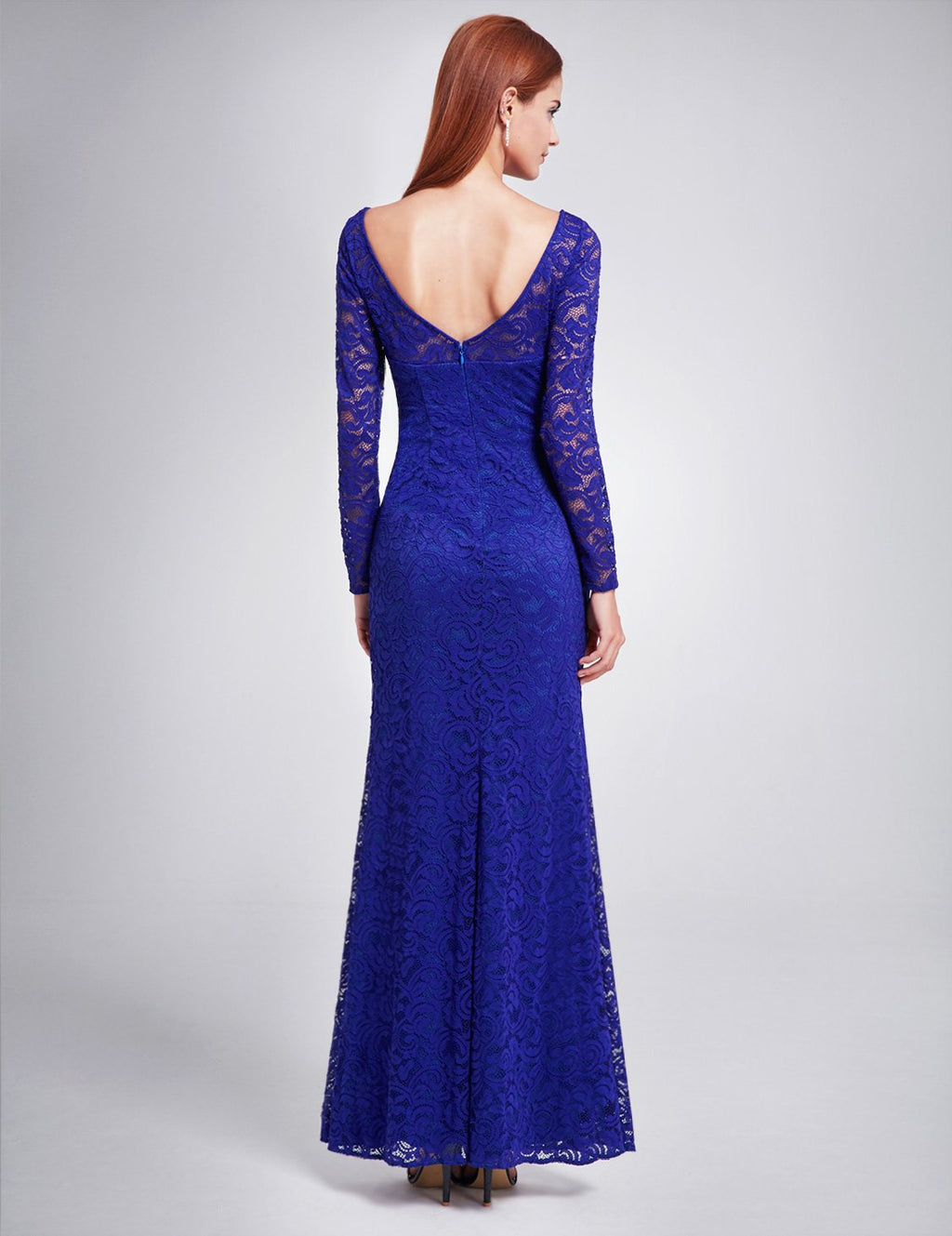 Long Sleeves Lace Slit Dress Blue