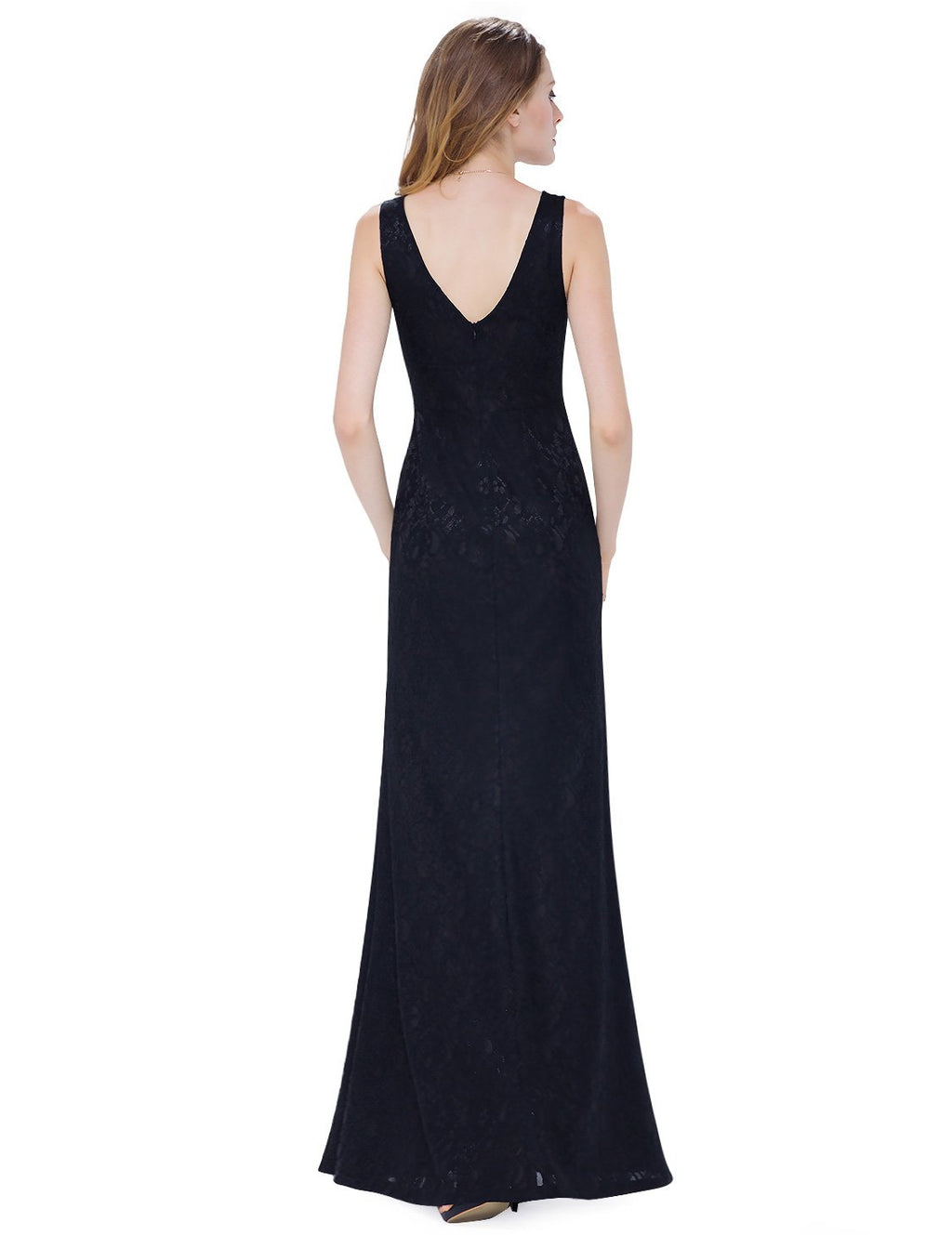 Sexy Neckline Simple Long Dress Black