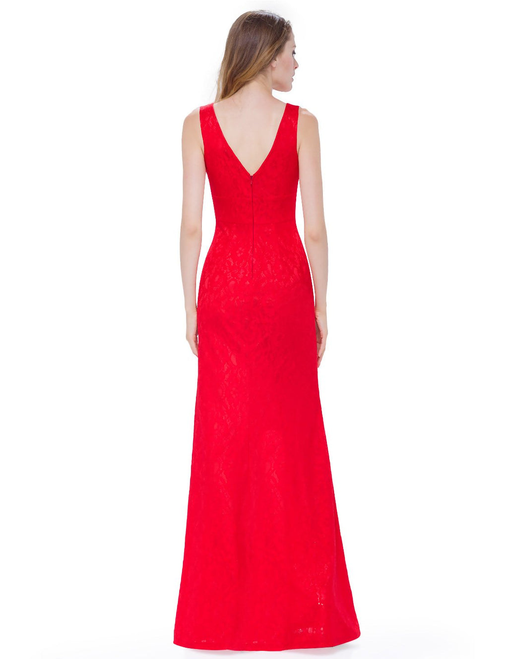Sexy Neckline Simple Long Dress Red