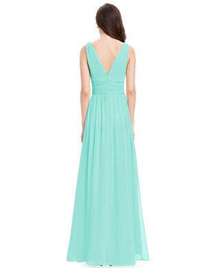 Chiffon Elegant Evening Gown Aqua
