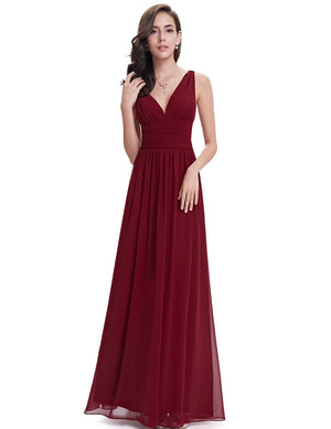 Chiffon Elegant Evening Gown Burgundy