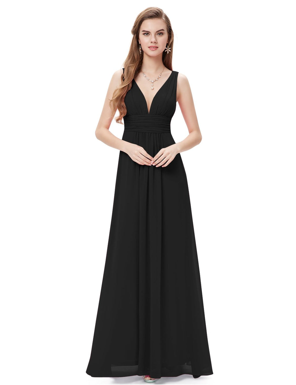 Chiffon Elegant Evening Gown Black