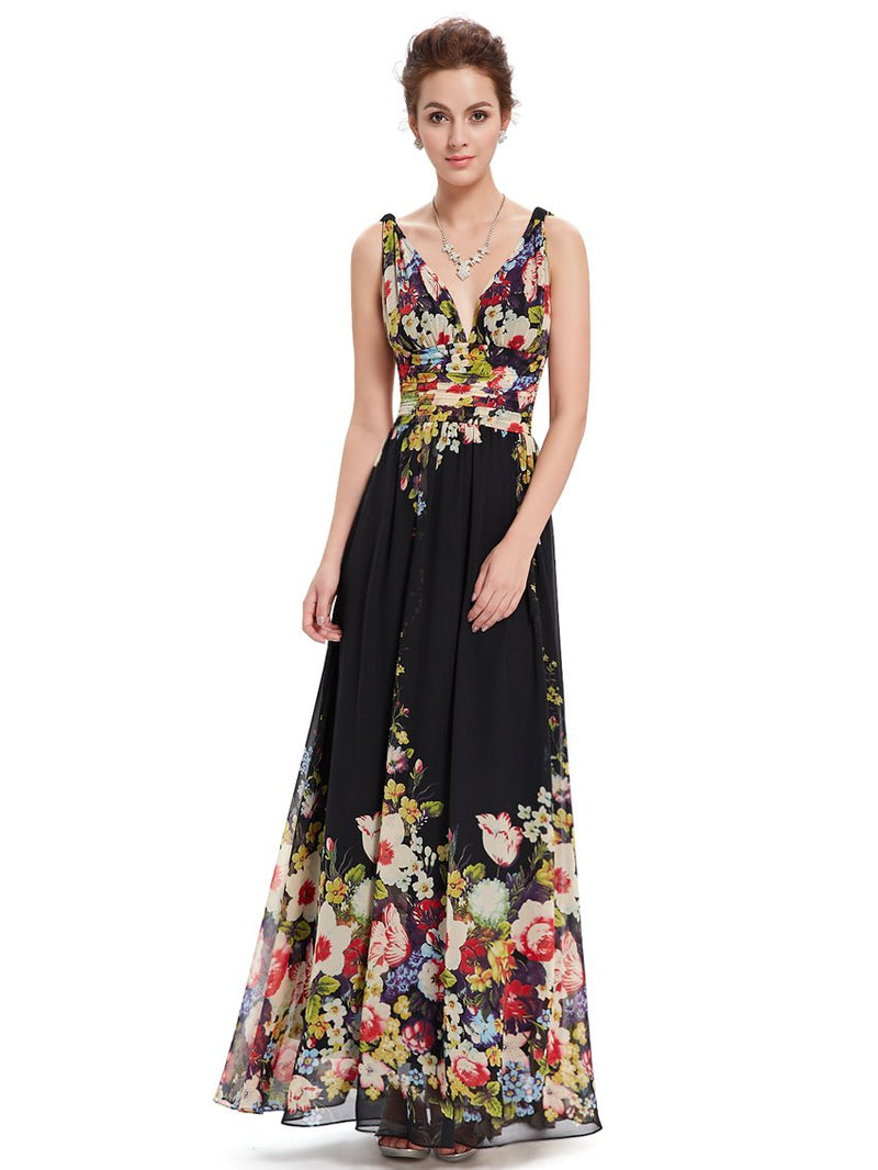 Chiffon Elegant Evening Gown Flowery