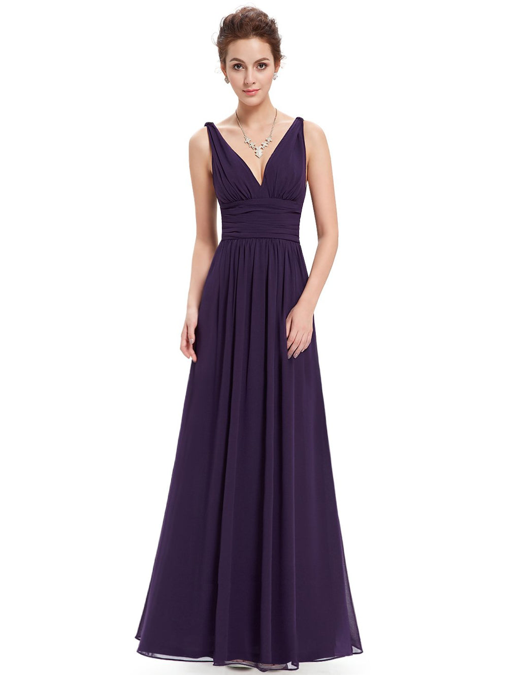 Chiffon Elegant Evening Gown Dark Purple