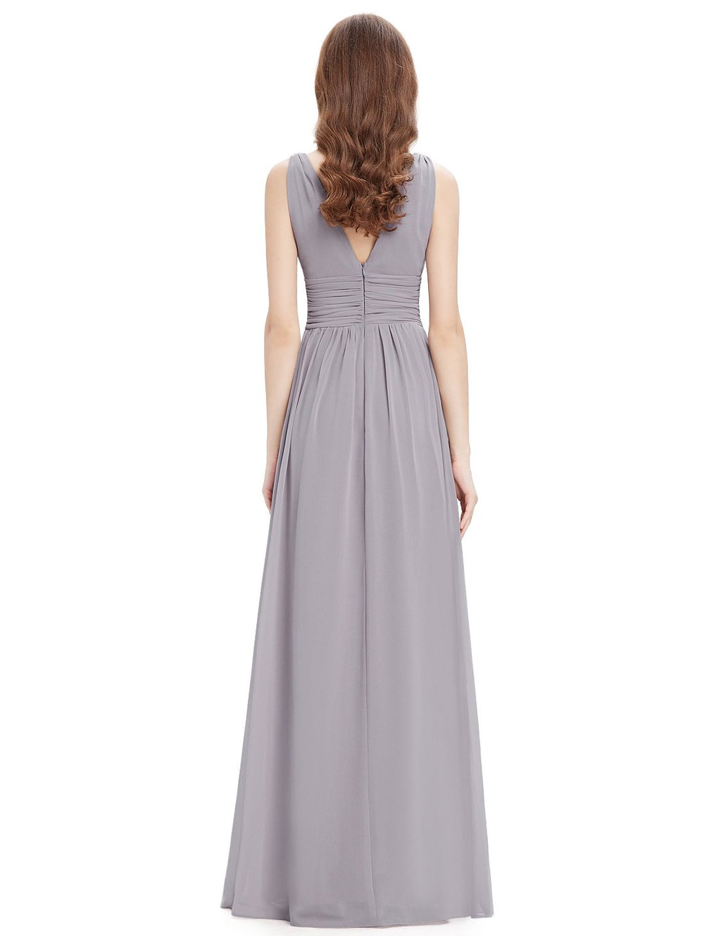 Chiffon Elegant Evening Gown Grey