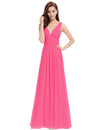 Chiffon Elegant Evening Gown Hot Pink