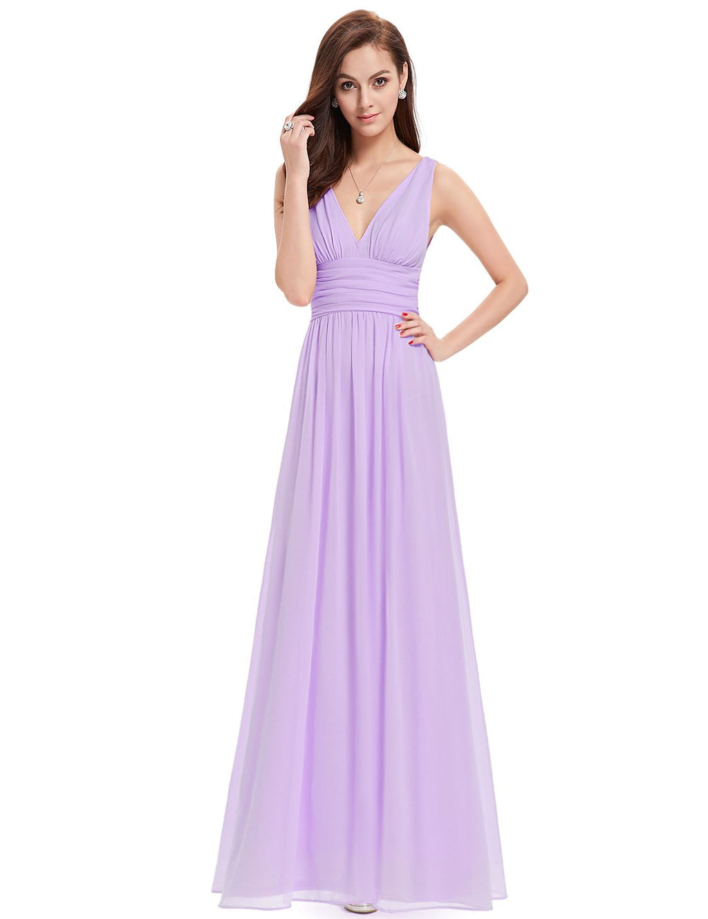Chiffon Elegant Evening Gown Light Purple