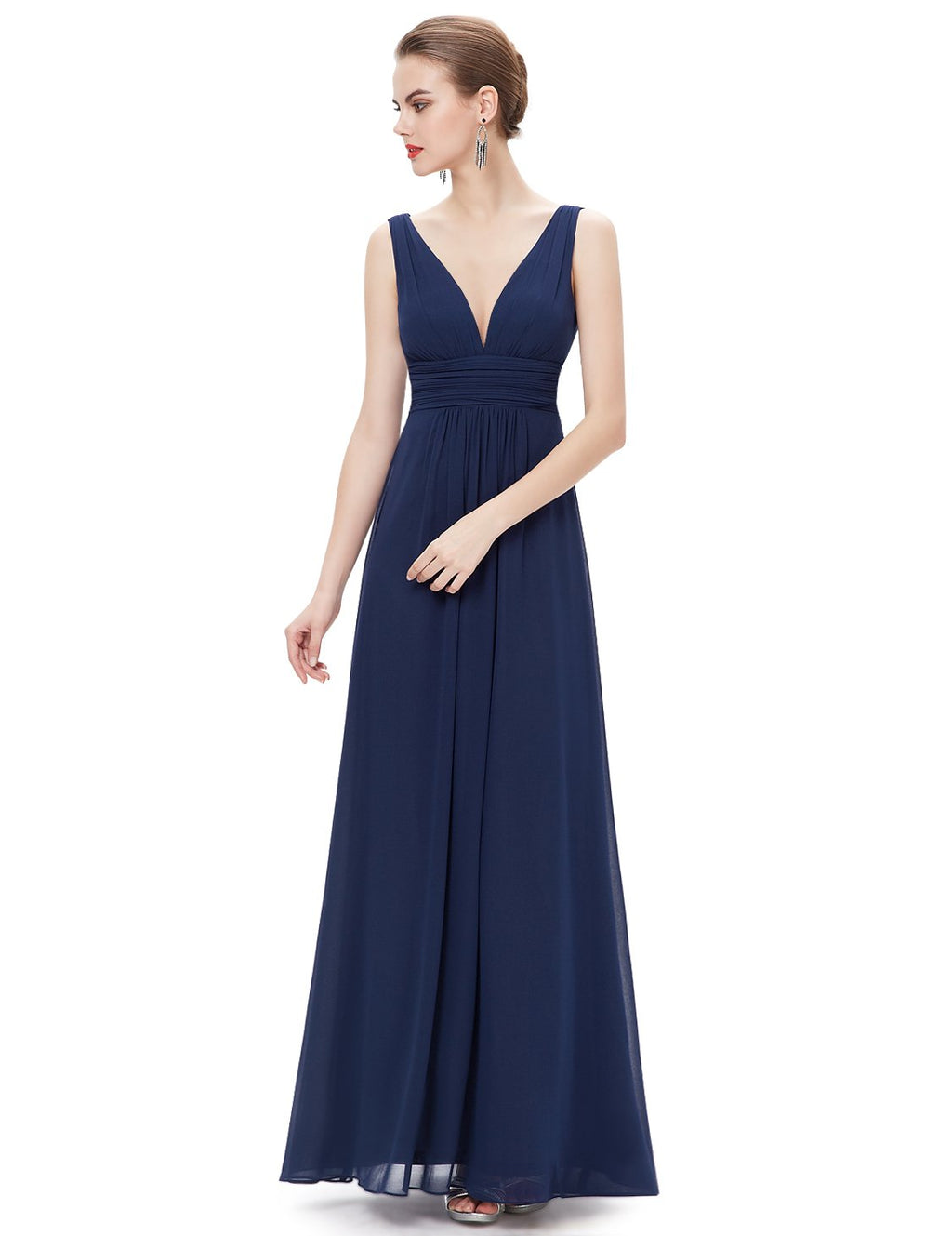 Chiffon Elegant Evening Gown Navy Blue