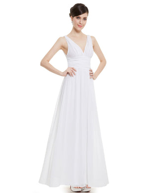Chiffon Elegant Evening Gown White