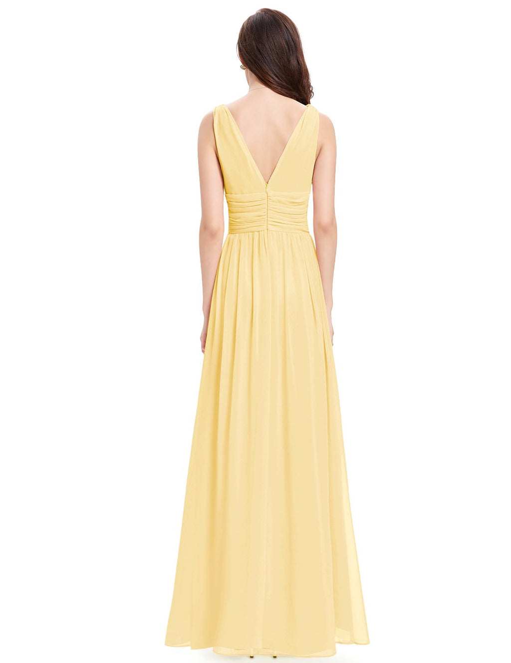 Chiffon Elegant Evening Gown Yellow