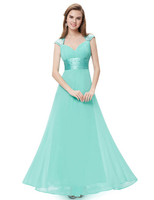 Unique Back Chiffon Long Dress Aqua