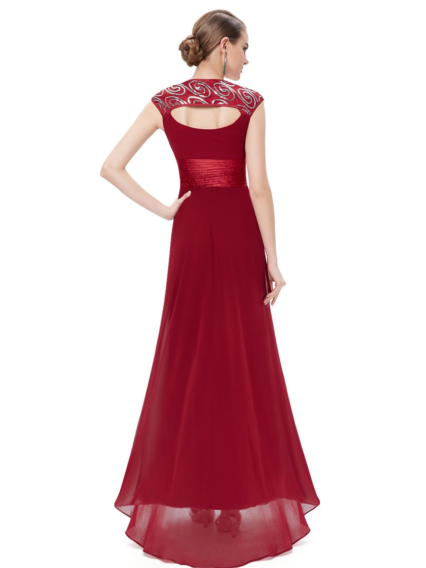 Unique Back Chiffon Long Dress Burgundy