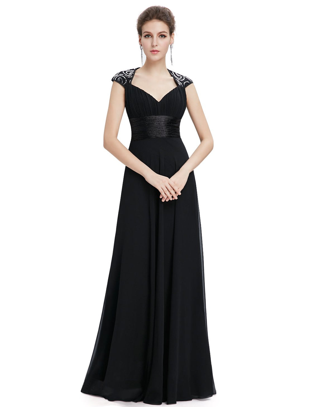 Unique Back Chiffon Long Dress Black