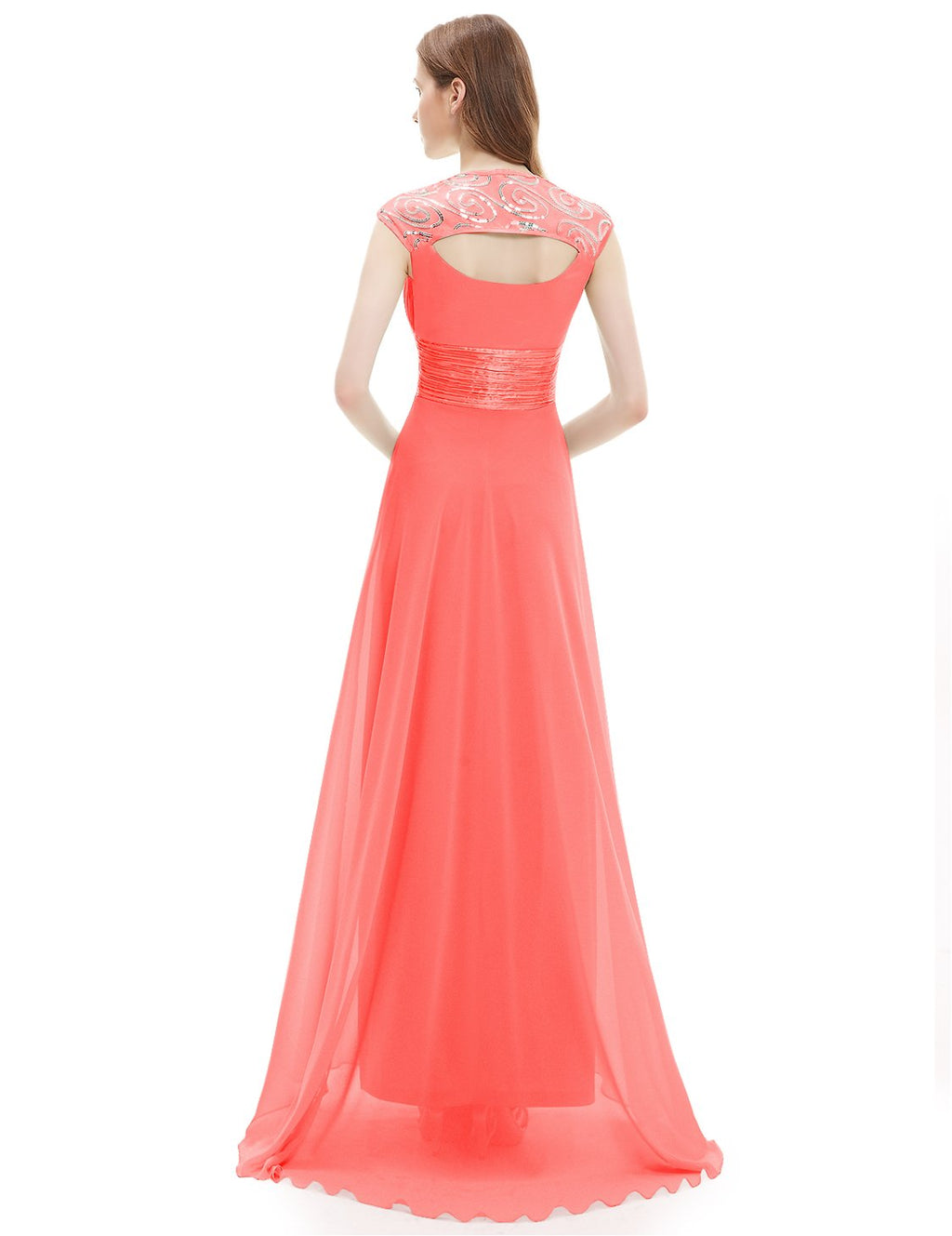Unique Back Chiffon Long Dress Coral