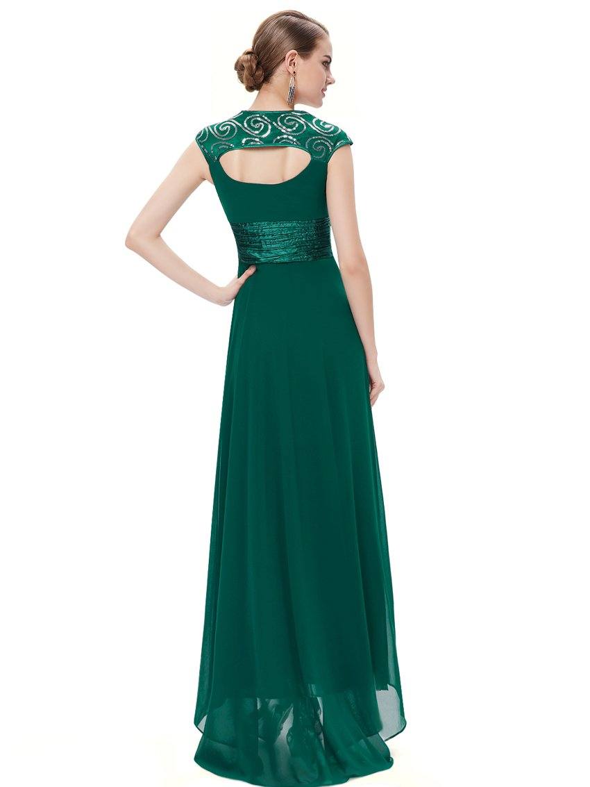 Unique Back Chiffon Long Dress Dark Green