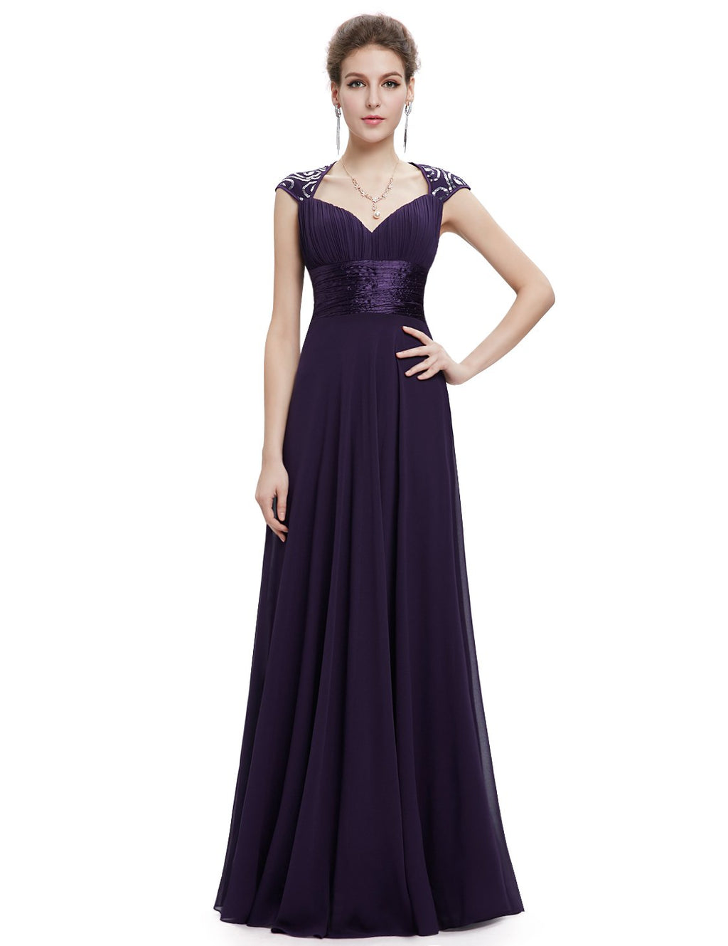 Unique Back Chiffon Long Dress Dark Purple