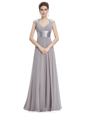 Unique Back Chiffon Long Dress Grey