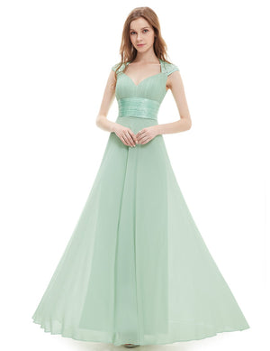 Unique Back Chiffon Long Dress Green