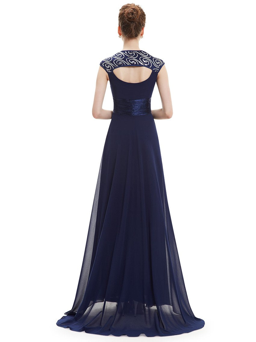 Unique Back Chiffon Long Dress Navy Blue