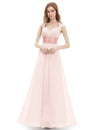 Unique Back Chiffon Long Dress Pink
