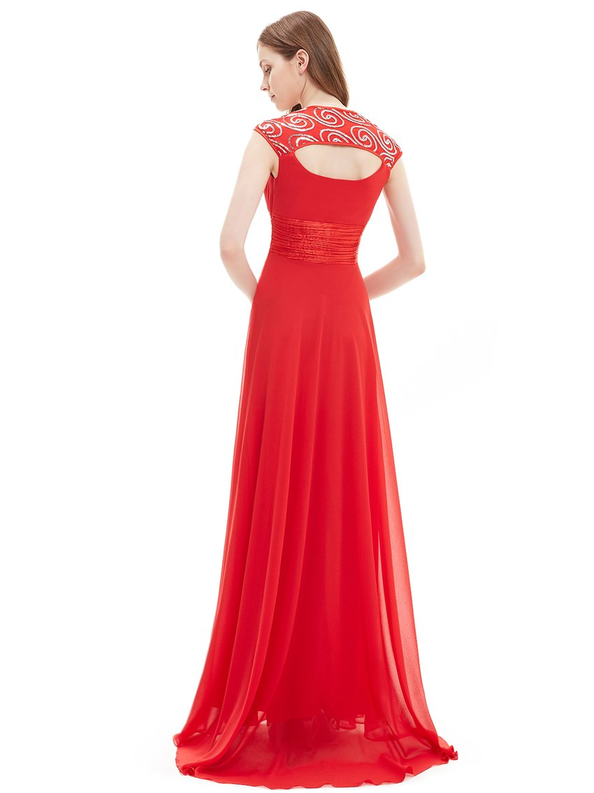 Unique Back Chiffon Long Dress Red