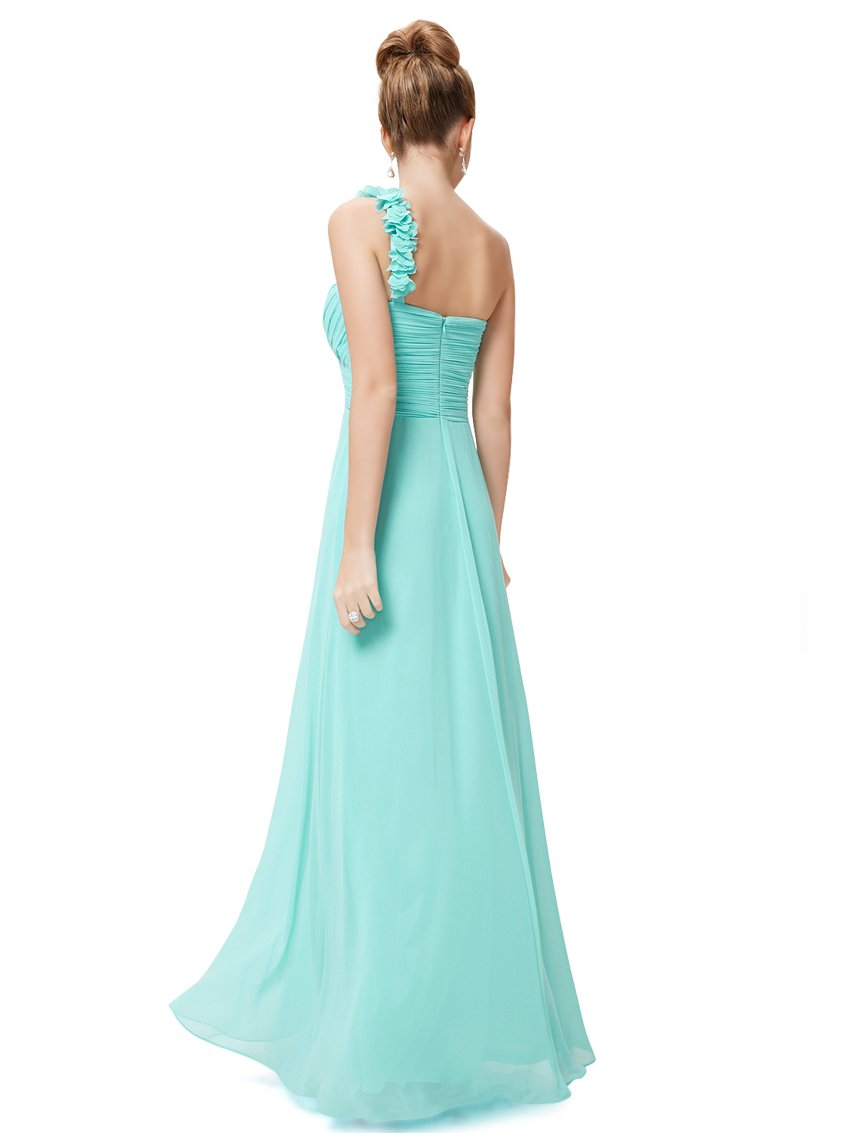 One Shoulder Evening Party Gown Aqua