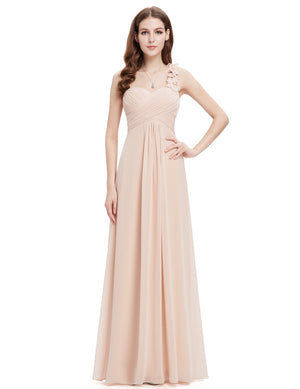 One Shoulder Evening Party Gown Beige