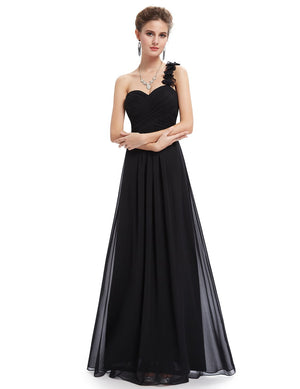 One Shoulder Evening Party Gown Black