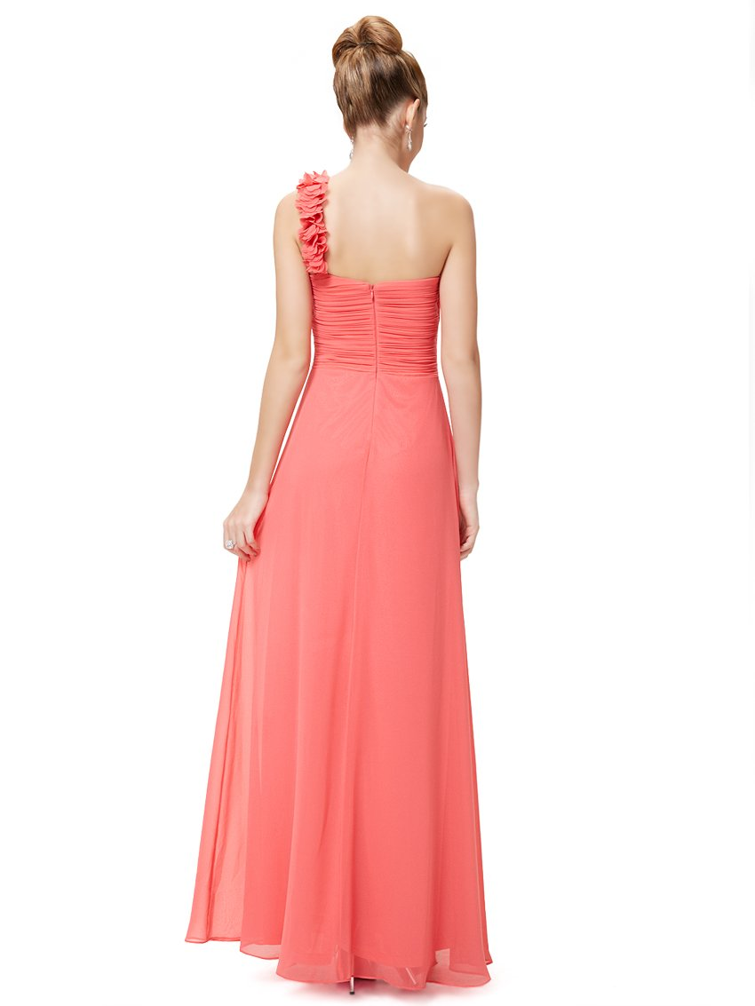 One Shoulder Evening Party Gown Coral