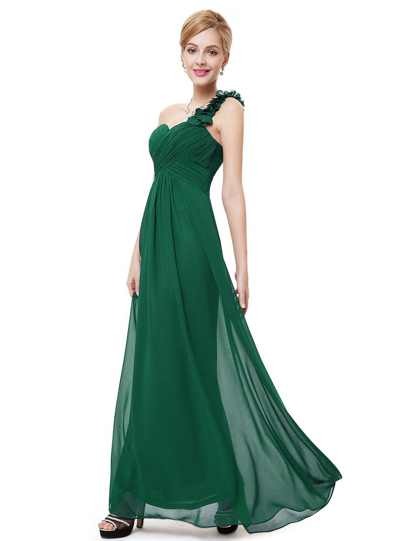 One Shoulder Evening Party Gown Dark Green