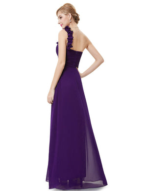 One Shoulder Evening Party Gown Dark Purple