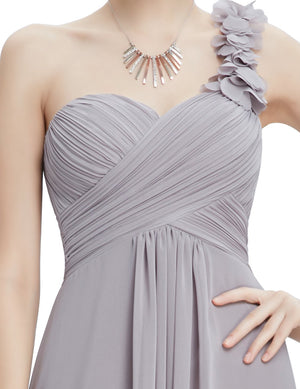 One Shoulder Evening Party Gown Grey