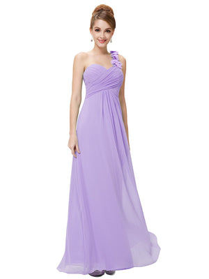 One Shoulder Evening Party Gown Light Purple