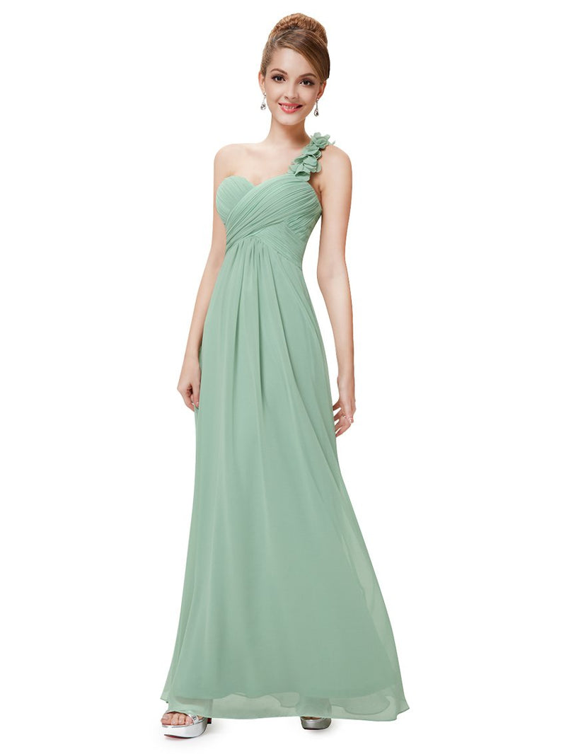 One Shoulder Evening Party Gown Green