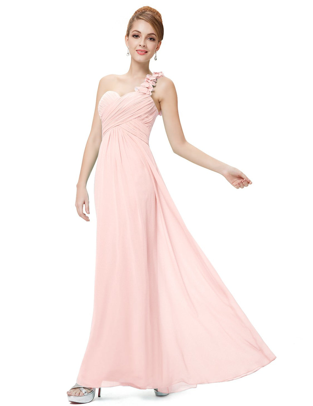 One Shoulder Evening Party Gown Pink
