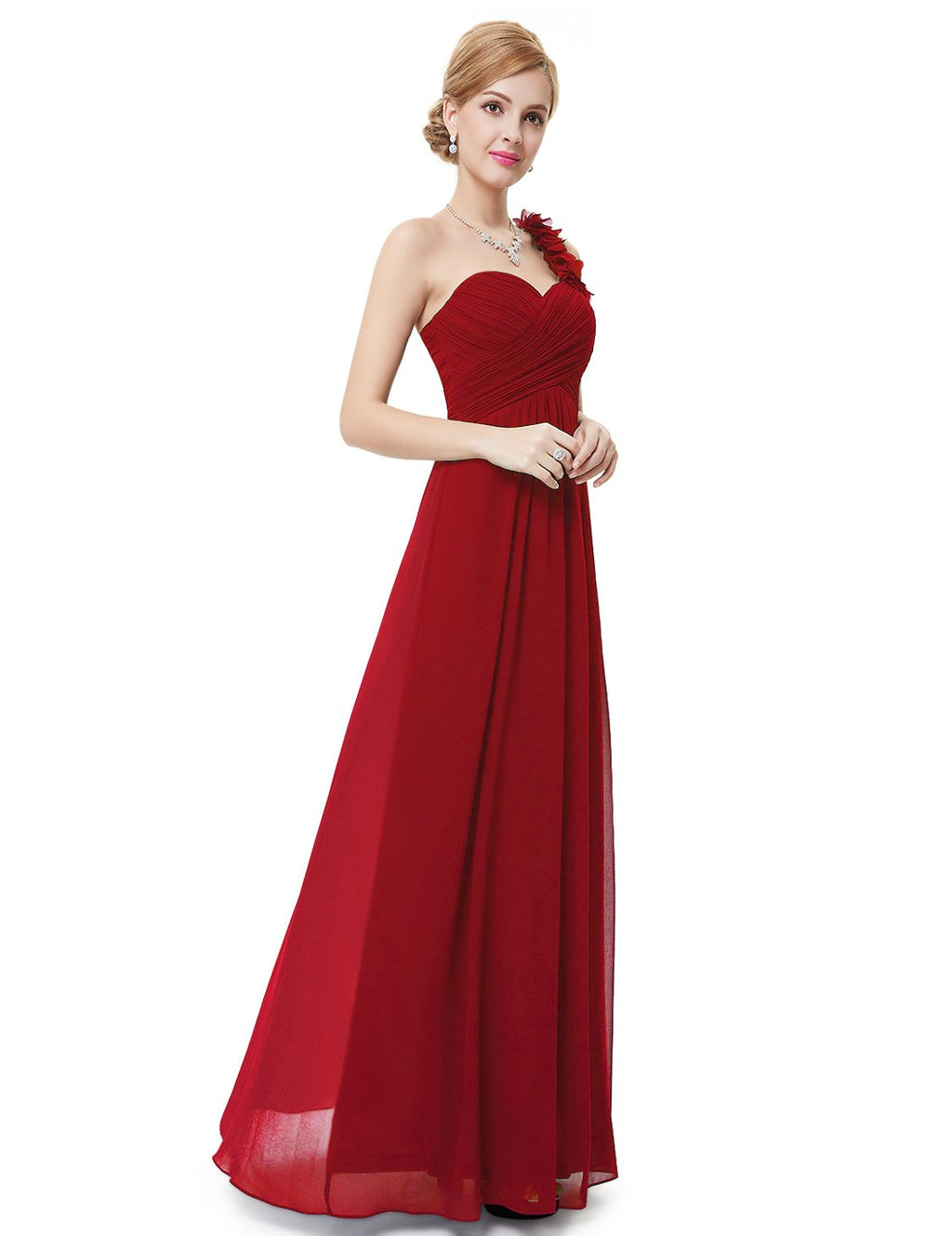 One Shoulder Evening Party Gown Red