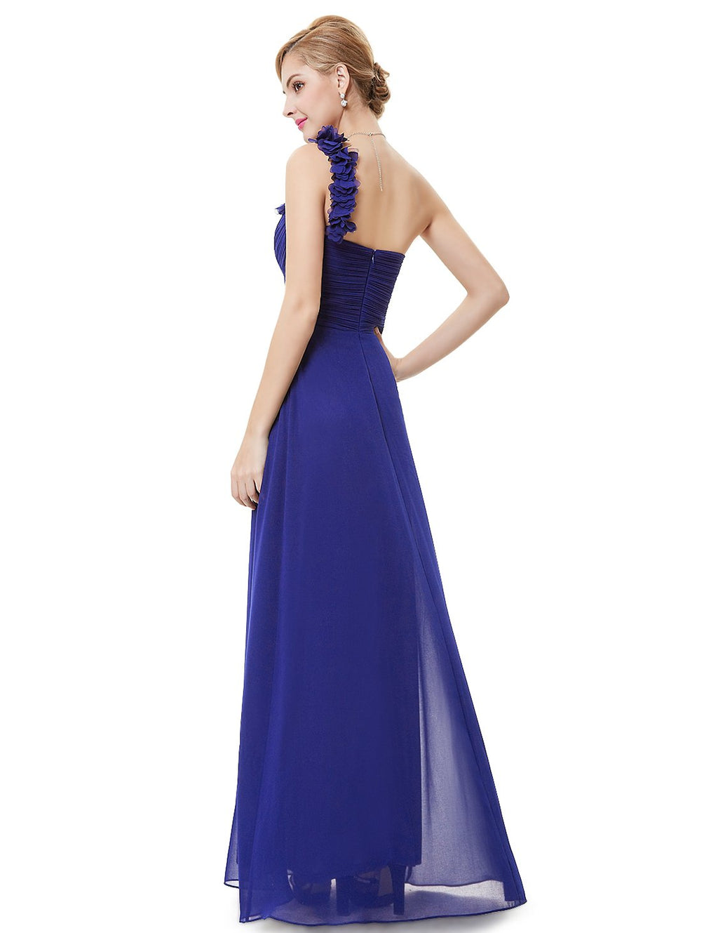 One Shoulder Evening Party Gown Sapphire Blue