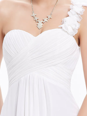 One Shoulder Evening Party Gown White
