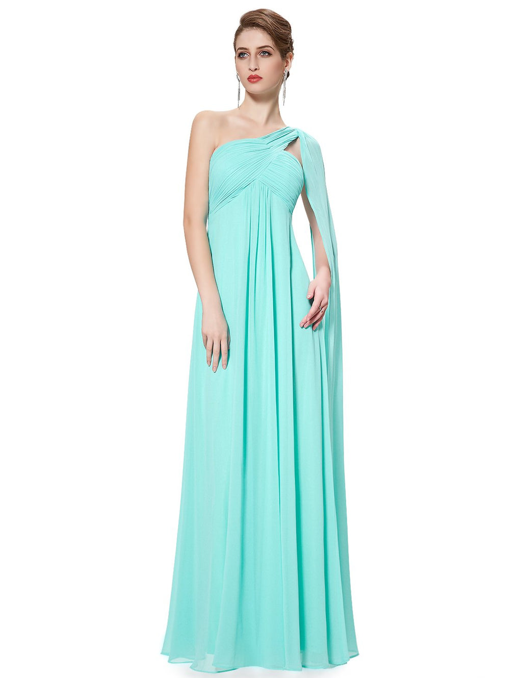 One Shoulder Simple Long Party Dress Aqua