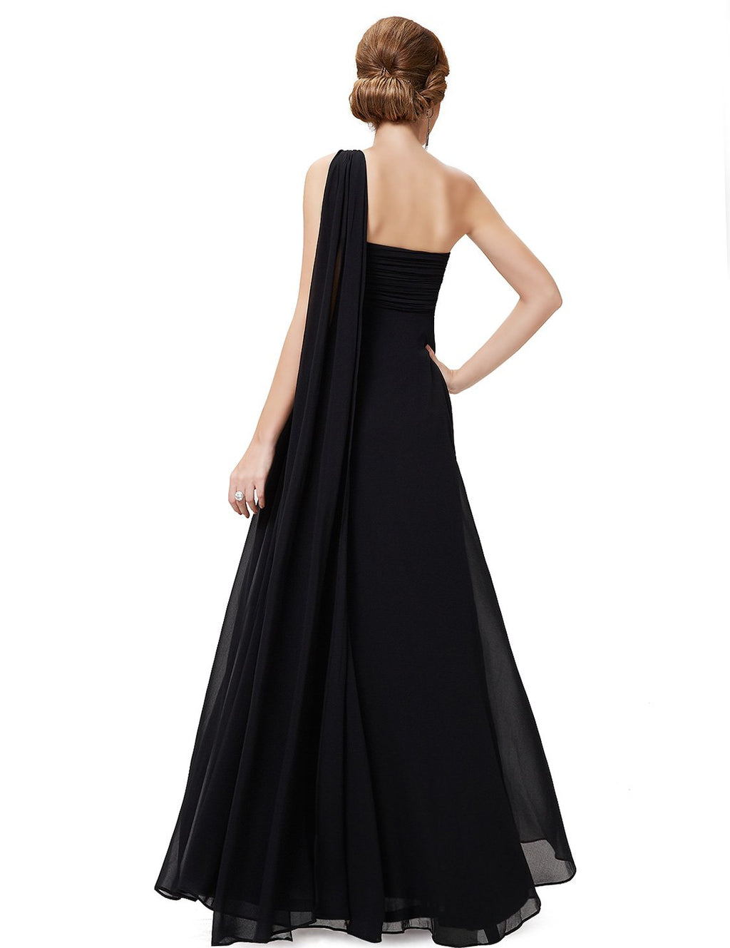 One Shoulder Simple Long Party Dress Black