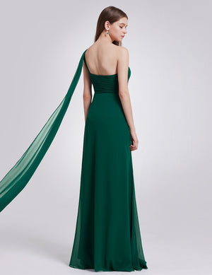 One Shoulder Simple Long Party Dress Dark Green