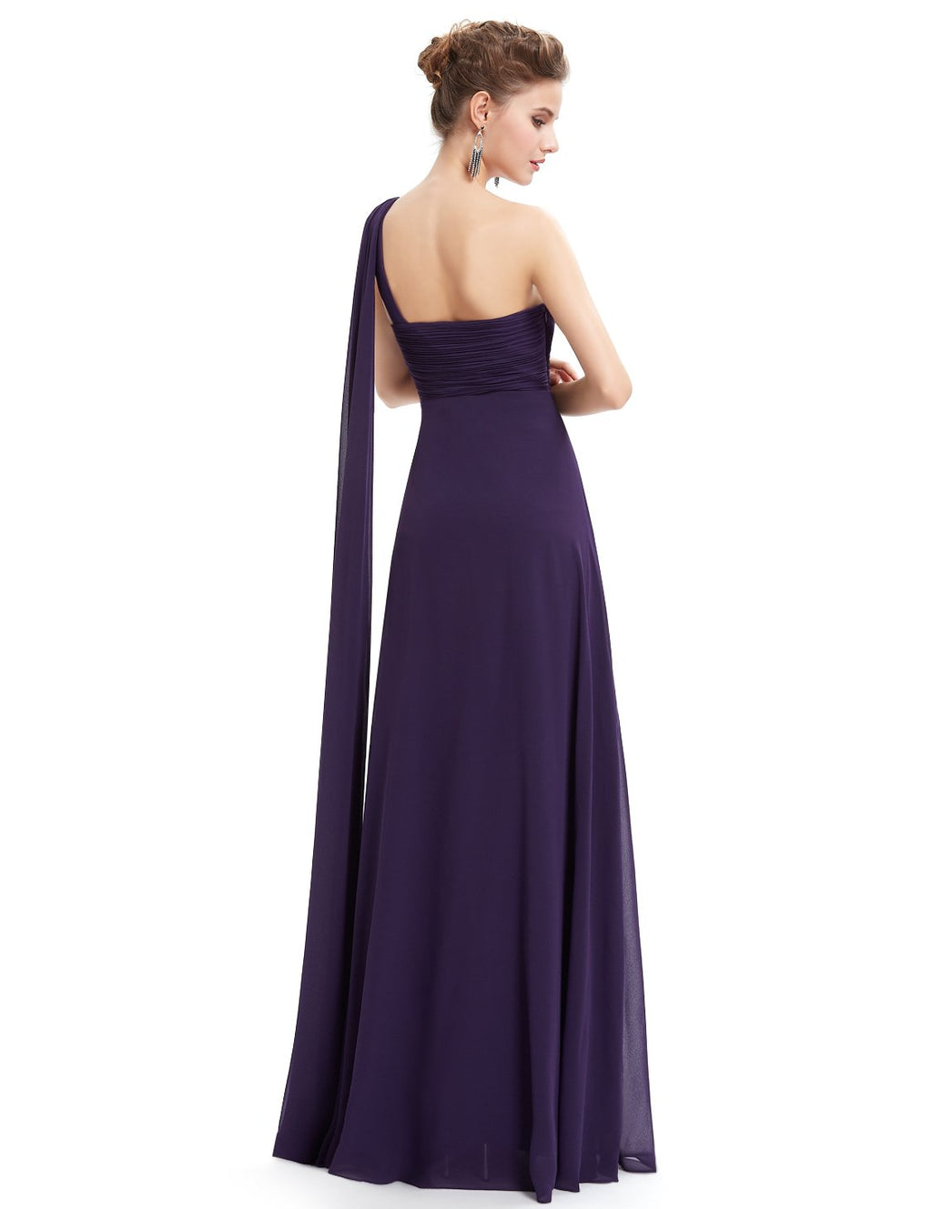 One Shoulder Simple Long Party Dress Dark Purple