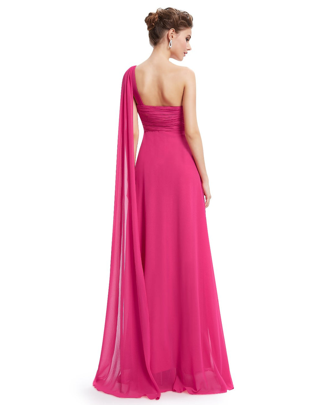 One Shoulder Simple Long Party Dress Hot Pink