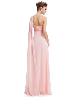 One Shoulder Simple Long Party Dress Pink