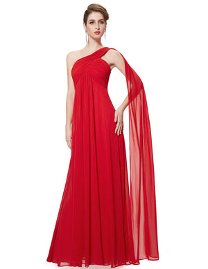 One Shoulder Simple Long Party Dress Red