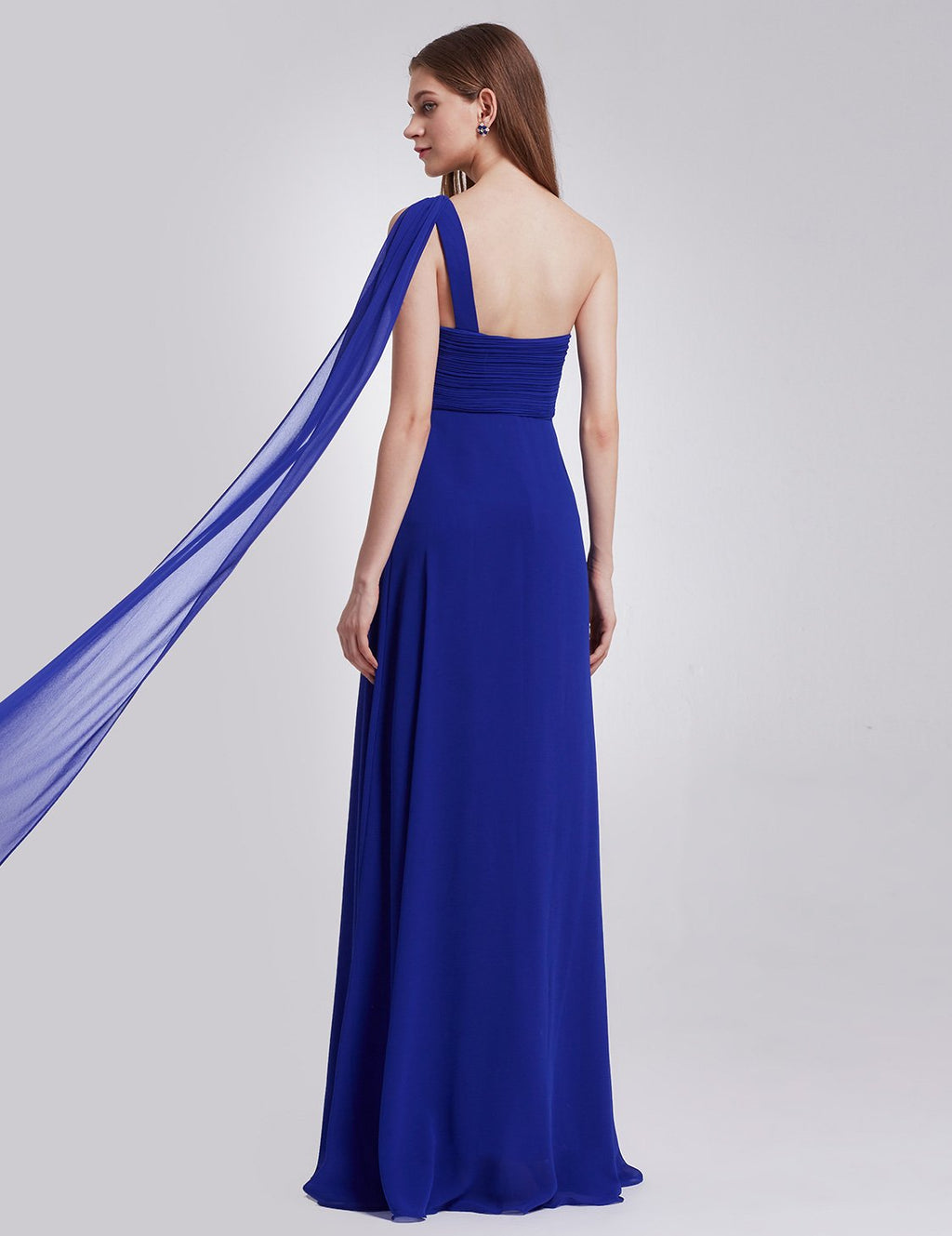 One Shoulder Simple Long Party Dress Sapphire Blue