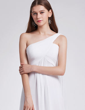 One Shoulder Simple Long Party Dress White