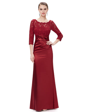Long Lace Evening Gown Burgundy