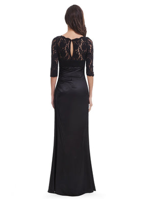 Long Lace Evening Gown Black