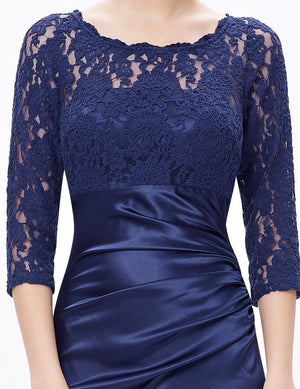 Long Lace Evening Gown Blue